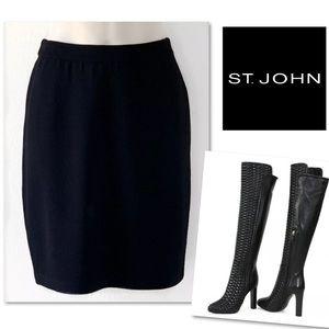 St. John Skirts - ST. JOHN BASICS SANTANA KNIT BLACK STRAIGHT SKIRT